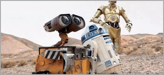WALL-E joins R2 and 3PO on Tatooine in STAR WARS VII: RETURN OF THE EMPIRE.