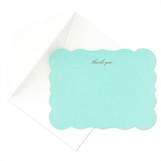 The Martha Stewart Aqua Die thank-you cards from Crane & Co. has the signature Martha Stewart color. I also love the elegant edges around the card.