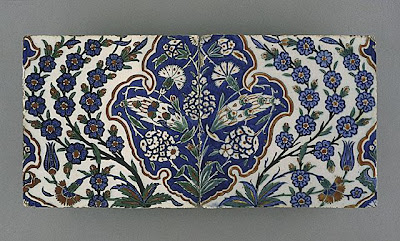 Tile [one of two] | Origin: Turkey, Iznik, Ottoman | Period:  last quarter of the 16th century | Collection: The Phil Berg Collection (M.71.73.37a) | Type: Ceramic; Architectural element, Fritware, underglaze painted in red, blue, green and black, 8 x 19 in. (20.32 x 48.26 cm)