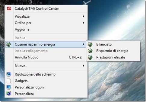 Opzioni di risparmio energia nel menu contestuale del mouse sul Desktop