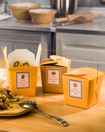 Using Chinese take-out boxes is a great way to divide different side dishes to send your guests home with.