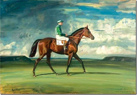 BLUE PRINCE II WITH HARRY CARR UP ON NEWMARKET HEATH by Sir Alfred J. Munnings