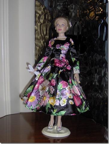 Grace Kelly Black Print Dress 11