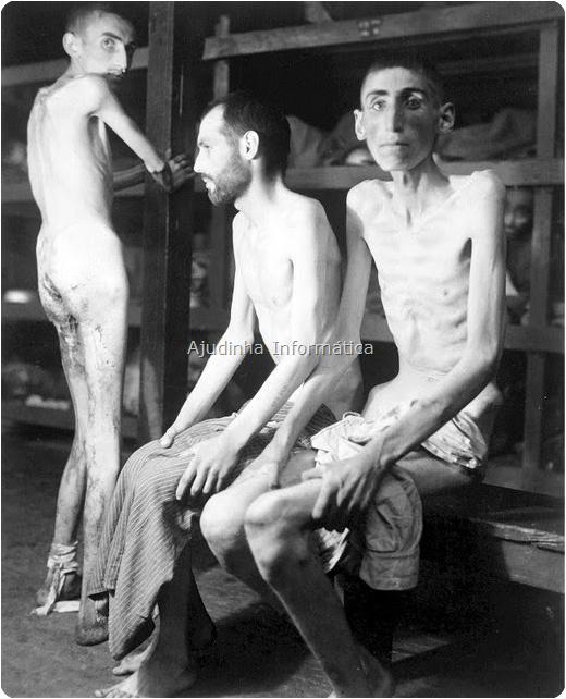 Sobreviventes no campo de concentração nazista.