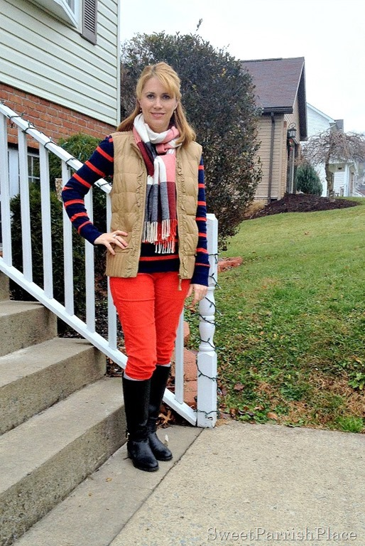 puffer vest with orange corduroys, stripes and plaid