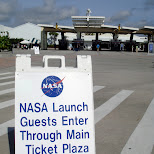 NASA launch guests enter through main ticket plaza - including myself in Cape Canaveral, Florida, United States