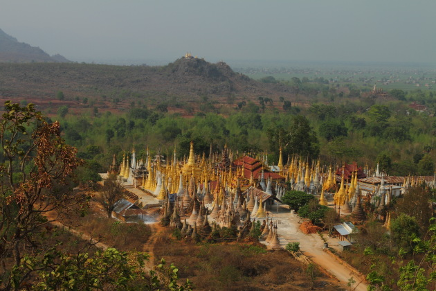 The Shwe Inn Dein Pagoda Complex as seen from a neighbouring hill