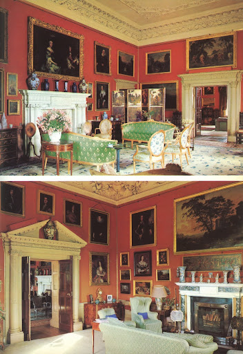 The subtle shade of orange on the walls of these two Georgian drawing rooms at the Malahide Castle perfectly sets off the numerous gold framed paintings.