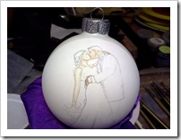 Design drawn on ornament - starting to paint
