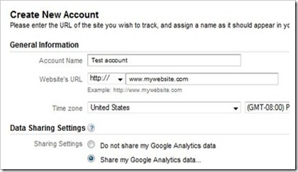 create google analytics account