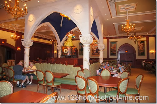 The Rose Gallery Dining Room with a giant Beauty and the Beast Music Box