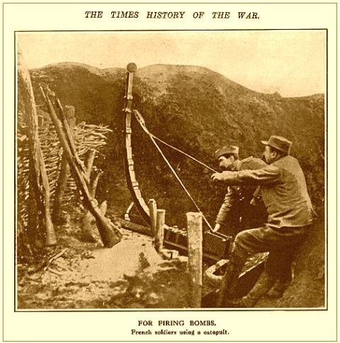 Французская катапульта для гранат времен первой мировой войны