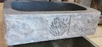 Charcoal Grey 1B Rock-Face Apron Sink w/ Floral Carving