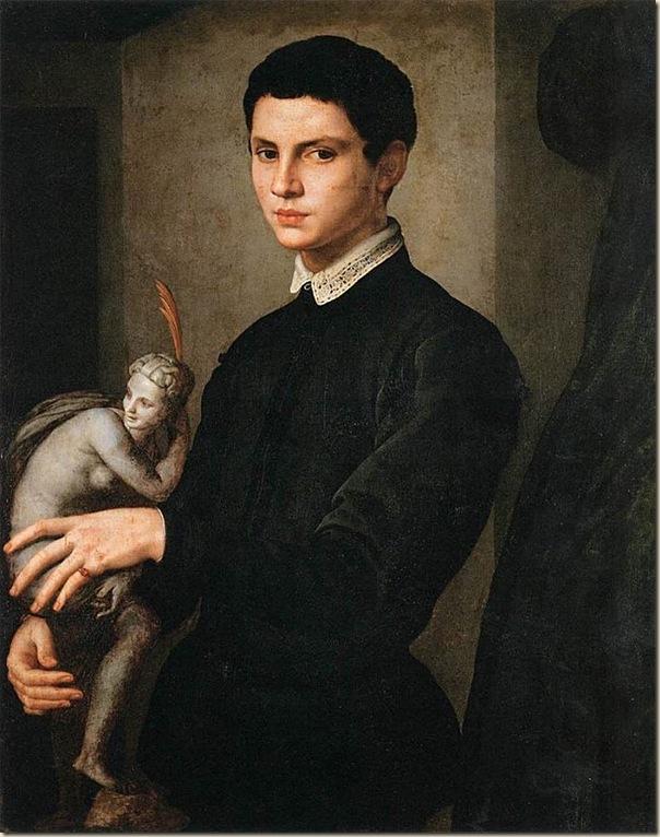 Bronzino, Portrait d'homme avec une statue dans la main