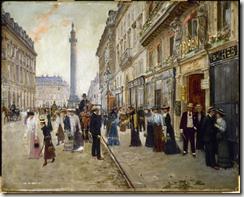 Jean Béraud, La sortie des ouvrières de la maison Paquin, rue de la Paix, vers 1902. Huile sur bois.