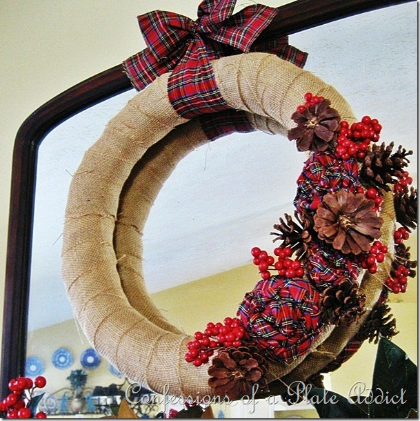 CONFESSIONS OF A PLATE ADDICT Burlap and Plaid Wreath2