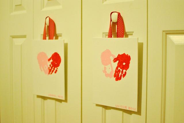 Valentines Day handprint heart canvas