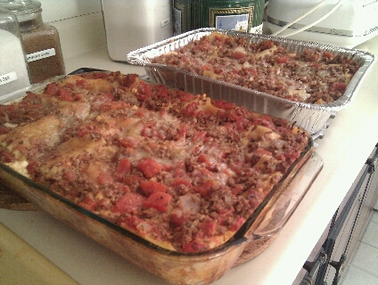 two pans of lasagna