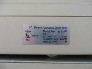 Pencron (Lumitime) clock for J.C. Penney, model KT-IP