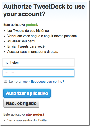 Autorize o TweetDeck