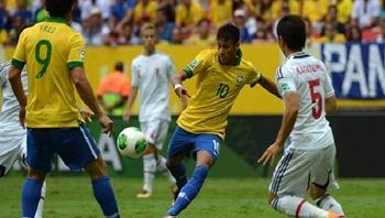 O Brasil  venceu o Japão por 3 a 0 no jogo de estreia da Copa das Confederações