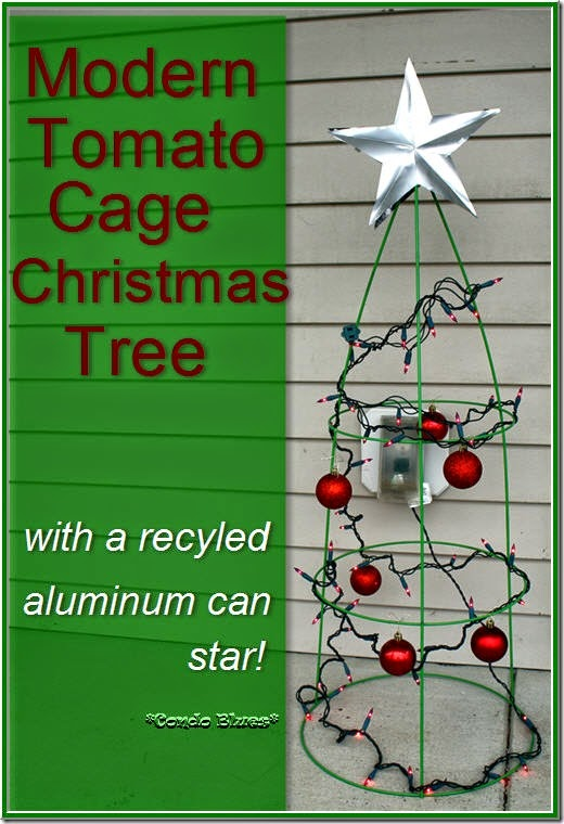 modern tomato cage Christmas tree with lights
