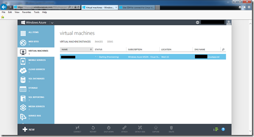 first vm being provisioned