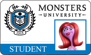 Carrie Williams Monsters University Student Identification Card