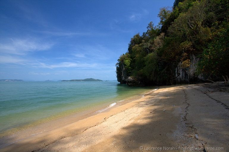 Beach from canoe trip James Bond Phang Nga Thailand