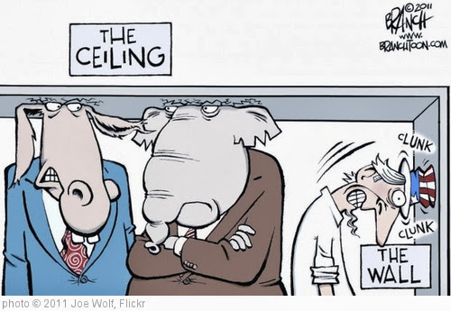 'Debt Ceiling Political Cartoon From the Rapid City Journal: The Ceiling and the Wall' photo (c) 2011, Joe Wolf - license: http://creativecommons.org/licenses/by-nd/2.0/