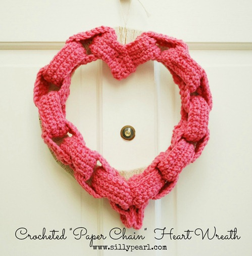 Crocheted Paper Chain Heart Wreath - The Silly Pearl