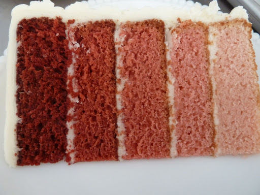A close up of the inside of the ombred red velvet. It was as delicious as you could ever imagine.