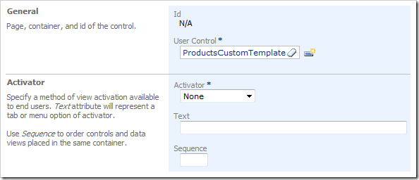 New Control with User Control of 'ProductsCustomTemplate' in Code On Time Designer