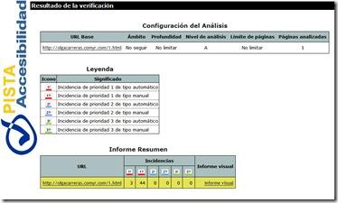 Informe visual de una verificación de acuerdo a las WCAG 2.0 con PISTA