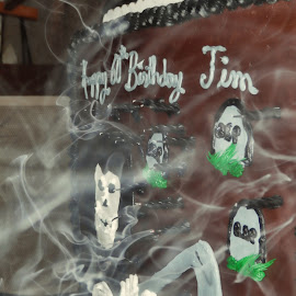Blowing out the Candles by Melanie Goins - Food & Drink Cooking & Baking ( cake, birthday, candles, grim reaper, blown out,  )