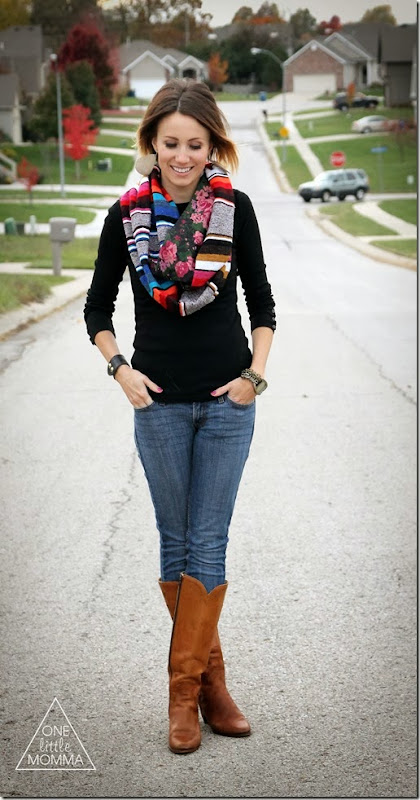 Serape scarf, black tee and vintage boots
