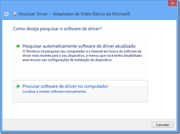 Clique em Procurar software de driver no computador