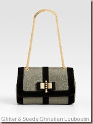Sweet Charity Glitter & Suede Shoulder Bag Christian Louboutin