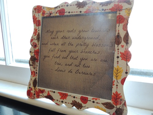 Framed Quote Wedding Gift