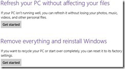 reset and refresh in windows 8