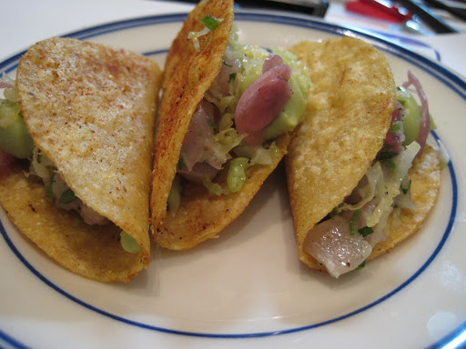 Blue Corn Fish Tacos with Marinated Yellow Fin Tuna and Avocado.