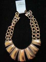 antique gold bib necklace, hyphen