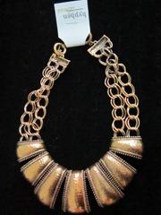 antique gold bib necklace, hyphen