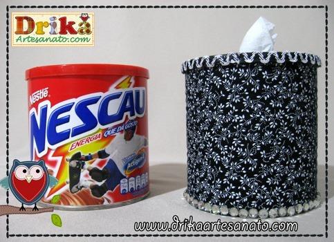 Porta Papel Higiênico com lata de Nescau Drika Artesanato2