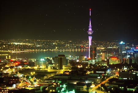 Skytower, Auckland City & Waitemata Harbour at night