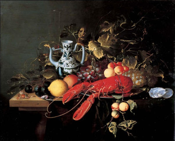 Laurens Craen, Nature morte aux  fruits, et homard