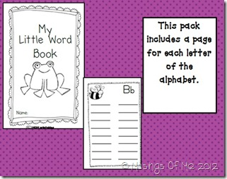 My Little Word Book Activity Pic