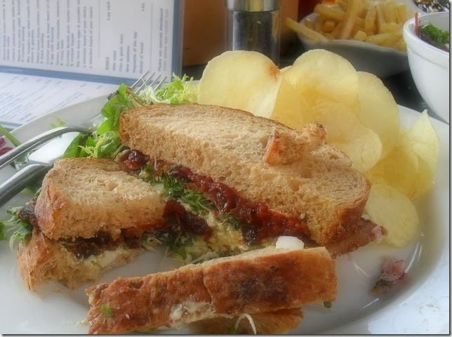 Crispy bacon, egg mayonnaise and tomato jam sandwich