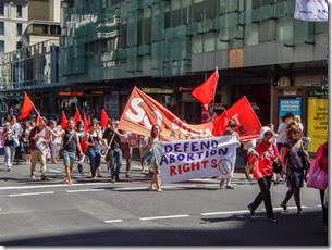 Our first scene in Sydney is an extreme left-wing socialist demonstration near our hotel.