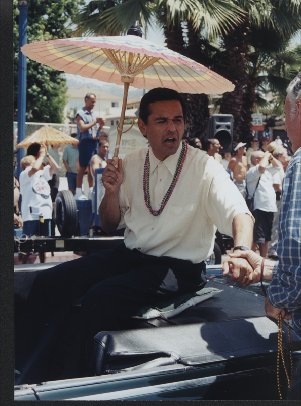 Los Angeles Mayor Antonio Villaraigosa at the Los Angeles Christopher Street West pride parade. June 17, 2001.